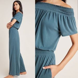 Anthropologie Rebecca Smocked Jumpsuit